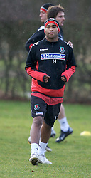 CHESTER, ENGLAND - Monday, February 4, 2008: Wales' Jermaine Easter training in the rain at the Carden Park Hotel ahead of their friendly match against Norway. (Photo by David Rawcliffe/Propaganda)