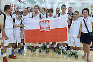 SO Poland basketball team pose to picture after SO Poland v SO Canada game during second day of the Special Olympics World Games Los Angeles 2015 on July 26, 2015 on Galen Center at University of Southern California in Los Angeles, USA.<br /> USA, Los Angeles, July 26, 2015<br /> <br /> Picture also available in RAW (NEF) or TIFF format on special request.<br /> <br /> For editorial use only. Any commercial or promotional use requires permission.<br /> <br /> Adam Nurkiewicz declares that he has no rights to the image of people at the photographs of his authorship.<br /> <br /> Mandatory credit:<br /> Photo by © Adam Nurkiewicz / Mediasport