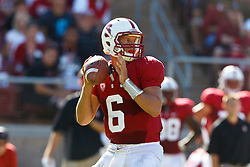 PALO ALTO, CA - OCTOBER 06: Quarterback Josh Nunes #6 of the Stanford Cardinal stands in the pocket against the Arizona Wildcats during the fourth quarter at Stanford Stadium on October 6, 2012 in Palo Alto, California. The Stanford Cardinal defeated the Arizona Wildcats 54-48 in overtime. (Photo by Jason O. Watson/Getty Images) *** Local Caption *** Josh Nunes