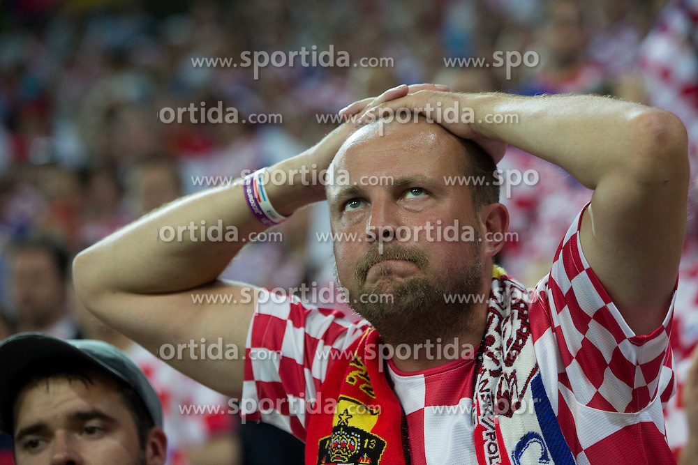 Fan of Croatia looks rejected after the UEFA EURO 2012 group C match between  Croatia and Spain at PGE Arena Gdansk on June 18, 2012 in Gdansk / Danzig, Poland. Spain defeated Croatia and qualified to Quarterfinals. (Photo by Vid Ponikvar / Sportida.com)