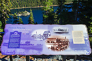 Interpretive sign, Emerald Bay State Park, Lake Tahoe, California USA