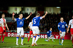 STEVENAGE, ENGLAND - Saturday, January 25, 2014: Everton's John Heitinga celebrates scoring the third goal against Stevenage during the FA Cup 4th Round match at Broadhall Way. (Pic by Tom Hevezi/Propaganda)