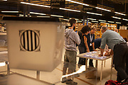 Empy ballot box  box as counting starts at Biblioteca Central Gabriel Ferrater, Sant Cugat del Valles, just outside Barcelona, Catalonia, for the Catalan Independence Referendum. <br /> October 1st 2017, Catalans voted in a binding referendum to decide whether the region should stay in Spain, or leave and become an independent Republic. The Madrid government of Mariano Rajoy sent thousands of extra police into Catalonia, brutally attacking around 10% of  voting centres and seizing ballot boxes, injuring nearly 1000 people in an effort to stop the vote. Despite the violence, there was turn turnout of well more than 42% with around 90% in favour of independence. Some 770,000 votes from an electorate of 5.5 million were stolen by police forces or unable to be cast because of raids.