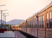India, Madhya Pradesh. Khajuraho station. Maharajas' Express luxury train.