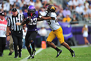 FORT WORTH, TX - SEPTEMBER 13:  B.J. Catalon #23 of the TCU Horned Frogs breaks free against the Minnesota Golden Gophers on September 13, 2014 at Amon G. Carter Stadium in Fort Worth, Texas.  (Photo by Cooper Neill/Getty Images) *** Local Caption *** B.J. Catalon