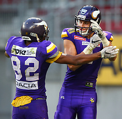 29.07.2017, Woertersee Stadion, Klagenfurt, AUT, AFL, Austrian Bowl XXXIII, Dacia Vikings Vienna vs Swarco Raiders Tirol, im Bild Jubel von Santino Schlimpert (Dacia Vikings Vienna, #82, WR) und Bernhard Seikovits (Dacia Vikings Vienna, #4, QB, WR, K) nach dem Touchdown // during the Austrian Football League Austrian Bowl XXXIII game between Dacia Vikings Vienna vs Swarco Raiders Tirol at the Woertersee Stadion, Klagenfurt, Austria on 2017/07/29. EXPA Pictures © 2017, PhotoCredit: EXPA/ Thomas Haumer