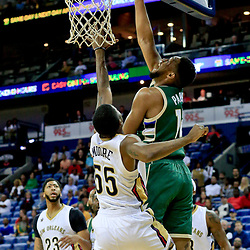 Nov 1, 2016; New Orleans, LA, USA; Milwaukee Bucks forward Jabari Parker (12) shoots over New Orleans Pelicans guard E'Twaun Moore (55) during the first quarter of a game at the Smoothie King Center. Mandatory Credit: Derick E. Hingle-USA TODAY Sports