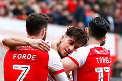 Anthony Forde of Rotherham United, Richie Towell of Rotherham United celebrate with Joe Newell of Rotherham United after his goal against Fleetwood Town - Mandatory by-line: Ryan Crockett/JMP - 07/04/2018 - FOOTBALL - Aesseal New York Stadium - Rotherham, England - Rotherham United v Fleetwood Town - Sky Bet League One