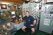 The Chief at the engine control room of the Sea Cloud.