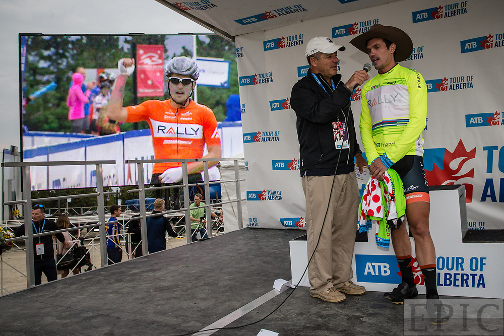 JASPER, ALBERTA, CAN - September 1: Evan Huffman (Rally Cycling) on the podium after winning stage 1 of the Tour of Alberta on September 1, 2017 in Jasper, Canada. (Photo by Jonathan Devich)