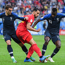 Antoine Griezmann of France, Nacer Chadli of Belgium and and Blaise Matuidi of France during the Semi Final FIFA World Cup match between France and Belgium at Krestovsky Stadium on July 10, 2018 in Saint Petersburg, Russia. (Photo by Anthony Dibon/Icon Sport)