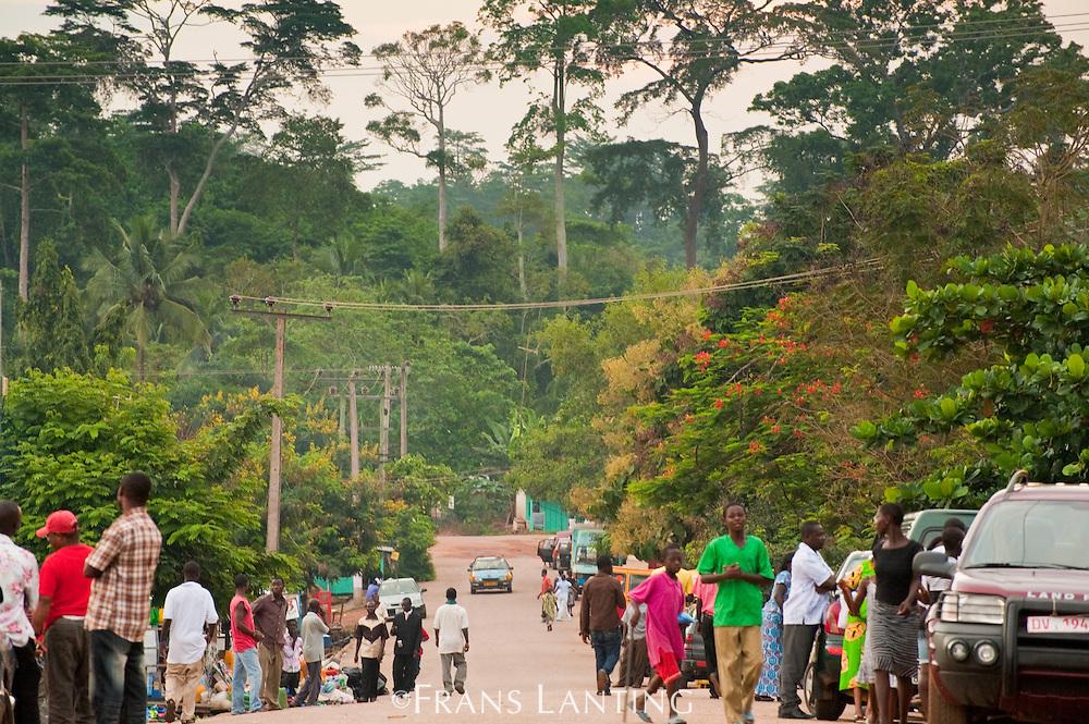 Main street and rainforest, Atobiase, Ghana