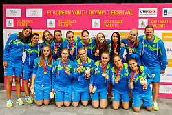 Slovenian women volleyball team after winning gold medal at 12th European Youth Olympic Summer Festival in Utrecht, Netherlands on July 19, 2013 in Utrecht, Netherland. (Photo by Peter Kastelic / Sportida.com)