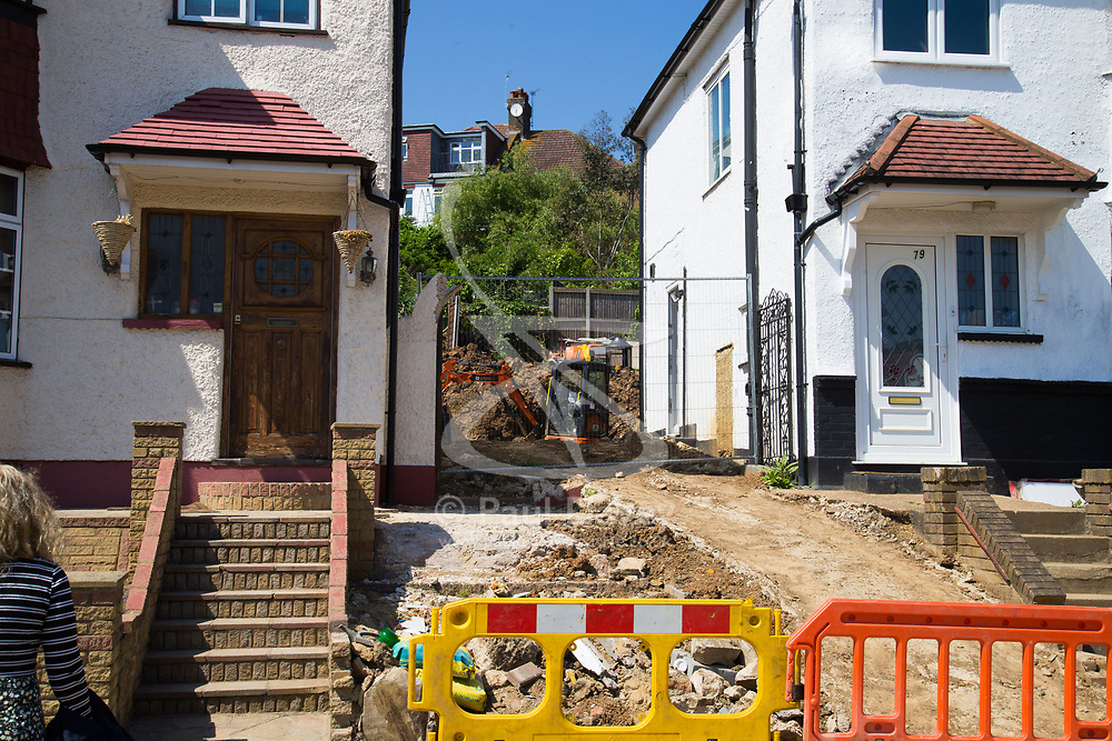 The house in Dollis Hill, North West London where mother of four nurse Bridget Curley was operating a dump truck as she was landscaping her new home, when it overturned crushing her to death. London, May 15 2018.