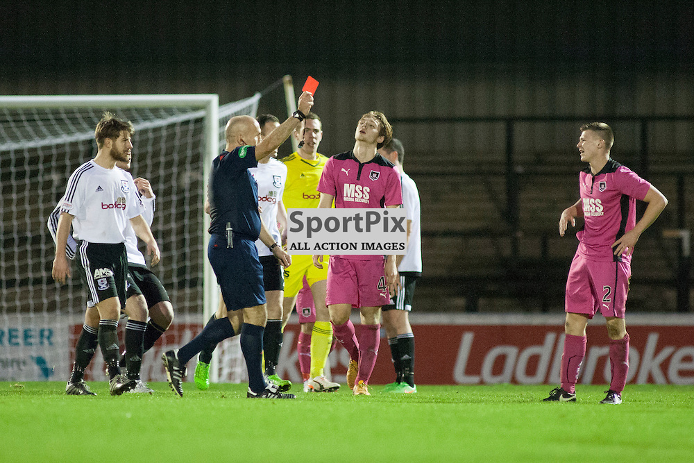 Chris O&rsquo;Neil (Airdrie 2) shownt he red card by referee Stephen Finnie in the Ayr United v Airdrieonians Somerset Park Ayr 21 November 2015<br />
