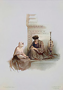 Machine coloured image from Egypt and Nubia, Volume III: The Letter-Writer, Cairo, 1849. Louis Haghe (British, 1806-1885), F.G.Moon, 20 Threadneedle Street, London, after David Roberts (British, 1796-1864). Color lithograph;