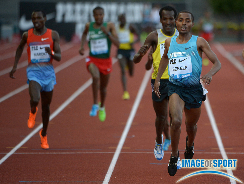 May 31, 2013; Eugene, OR, USA; Keninisa Bekele (ETH) wins the 10,000m in 27:12.08 in the 39th Prefontaine Classic at Hayward Field. Photo by Kirby Lee