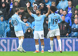 Sergio Aguero of Manchester City celebrates his goal. - Mandatory by-line: Alex James/JMP - 22/09/2018 -  FOOTBALL - Cardiff City Stadium - Cardiff, Wales -  Cardiff City v Manchester City - Premier League