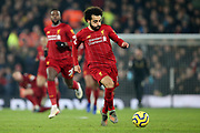 Liverpool forward Mohamed Salah (11) during the Premier League match between Liverpool and Manchester United at Anfield, Liverpool, England on 19 January 2020.