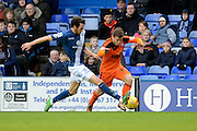Birmingham City midfielder Will Buckley fouls Ipswich Town midfielder Ryan Fraser during the Sky Bet Championship match between Birmingham City and Ipswich Town at St Andrews, Birmingham, England on 23 January 2016. Photo by Alan Franklin.