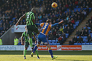 AFC Wimbledon forward Tom Elliott (9) header is ruled out for a foul during the EFL Sky Bet League 1 match between Shrewsbury Town and AFC Wimbledon at Greenhous Meadow, Shrewsbury, England on 18 February 2017. Photo by Simon Davies.