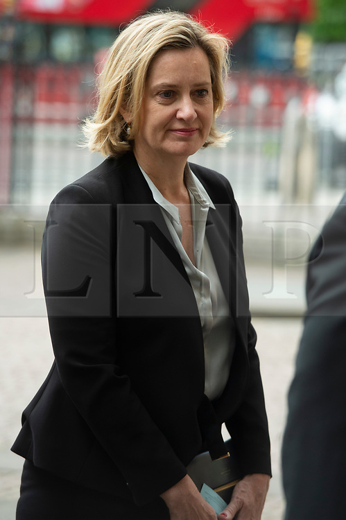 © Licensed to London News Pictures. 20/06/2019. London, UK.  Secretary of State for Work and Pensions Amber Rudd attends a Service of Thanksgiving for Lord Haywood at Westminster Abbey. Jeremy Heywood served as Cabinet Secretary from 2012 and Head of the Home Civil Service until shortly before his death in 2018. Photo credit: Ray Tang/LNP