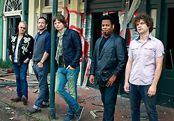 17 October 2013. Abandoned Six Flags, New Orleans, Louisiana. <br /> Terry McDermott and the Bonfires. <br /> L/R; Dave Rosser, Richard Hyland, Terry McDermott, Alex Smith and Eric Bolivar.<br /> Photo; Charlie Varley