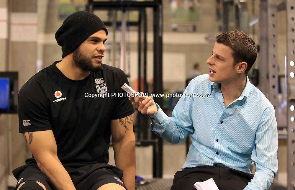Sam Rapira speaking to Aaron Lawton, Vodafone Warriors Training and Media Session, Rugby League, Mt Smart Stadium, Auckland. 11 August 2010. Photo: Andrew Cornaga/PHOTOSPORT