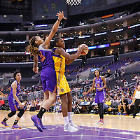 24 August 2014: Los Angeles Sparks forward/center Sandrine Gruda (7) goes for the layup past Phoenix Mercury center Brittney Griner (42) during the Phoenix Mercury 93-68 victory over the Los Angeles Sparks, in a Conference Semi-Finals at the Staples Center, Los Angeles, California, USA.