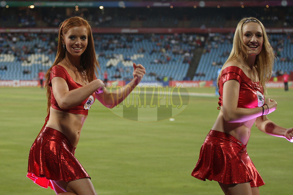 CLT20 cheerleaders during the 2nd semi-final in the Karbonn Smart CLT20 between the Sydney Sixers and the Titans held at Supersport Park, Centurion, South Africa on the 26th October 2012. Photo by Jacques Rossouw/SPORTZPICS/CLT20