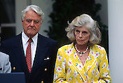 Eunice Kennedy Shriver with husband Sargent Shriver during an event celebrating the 35th anniversary of the Peace Corp in the Rose Garden of the White House June 19, 1997 in Washington, DC.