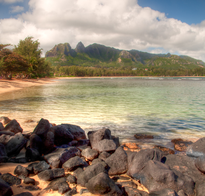 Landscape and water Northern Kauai, digital fine art photography, beach northern Kauai,Hawaii