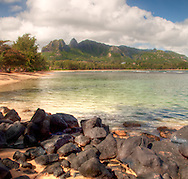 Landscape and water Northern Kauai, digital fine art photography, beach northern Kauai,Hawaii