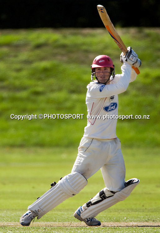 Todd Astle batting for Canterbury during play on day three. Canterbury Wizards v Northern Knights, Plunket Shield Game held at Mainpower Oval, Rangiora, Wednesday 06 April 2011. Photo : Joseph Johnson / photosport.co.nz