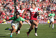 Lions v Highlanders. Rohan Janse van Rensburg of the Emirates Lions escapes the ankle tap of Lima Sopoaga of the Highlanders for his try during the 2016 Super Rugby semi-final match at Ellis Park, Johannesburg, 30 July 2016. <br /> <br /> © Anton de Villiers / www.photosport.nz