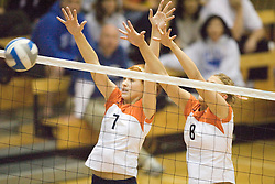 Virginia Cavaliers OH Lindsay Osco (7)..Virginia Cavaliers M Shannon Davis (8)..The Virginia Cavaliers Volleyball Team fell to the Duke Blue Devils three games to none on November 16, 2006 at Memorial Gymnasium in Charlottesville, VA...