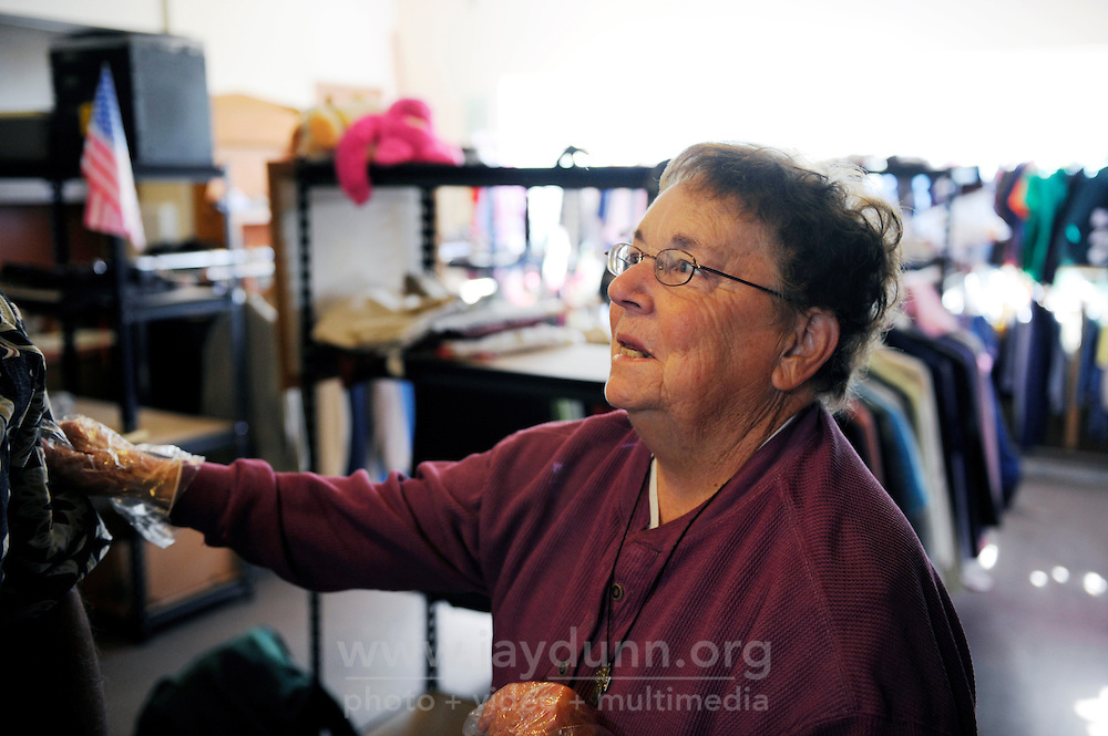 Sister Barbara Muck, who is a long-serving advocate for the needy, in the clothing room at the First Methodist Church in Salinas. at the First United Methodist Church in Salinas, California. Volunteers from the community drive a program that provides meals, counseling resources and occasional shelter to people in need.