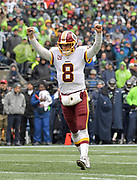 Nov 5, 2017; Seattle, WA, USA; Washington Redskins quarterback Kirk Cousins (8) celebrates after a touchdown in the second quarter against the Seattle Seahawks during an NFL football game at CenturyLink Field.