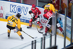 AVSENEK Rok vs Armin Helfer during Alps Hockey League match between HC Pustertal and HDD SIJ Jesenice, on April 3, 2019 in Ice Arena Podmezakla, Jesenice, Slovenia. Photo by Peter Podobnik / Sportida