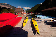 Kayaks at Ross Lake Resort, Ross Lake National Recreation Area, North Cascades National Park, Washington, US