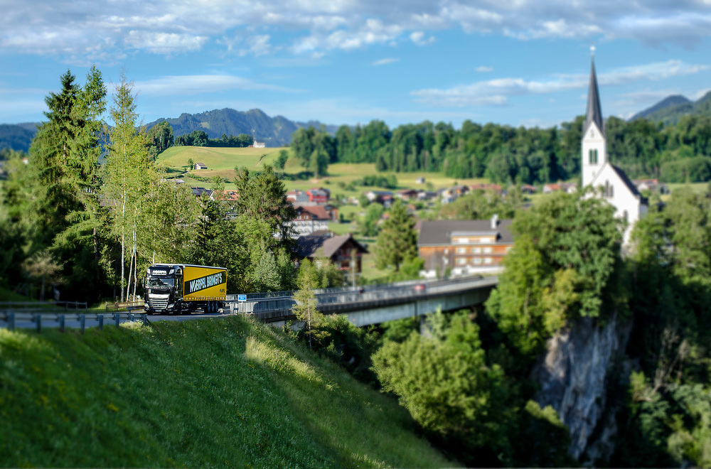 A Noerpel Truck driving in Switzerland