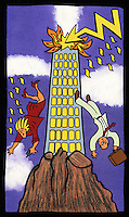 Illustration of a man and a woman falling from a tower block which has been struck by lightning and is on fire.  The tower is situated on a steep rock.