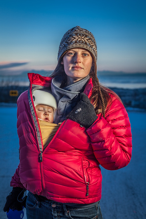 Kaity Reiley, her 7 month old daughter Beatrice and her dog, Jack, at the bottom of 9th Avenue, Anchorage kaitlinreiley@gmail.com