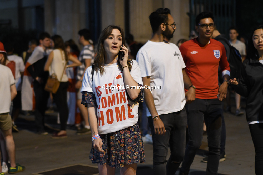 England fan after England loss to Croatia the 2018 FIFA World Cup semi-finals in Moscow outside Hype park on 11 July 2018.
