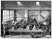 Filling and soldering cans of food.  Wood engraving Paris c1870