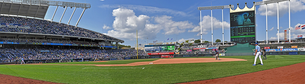 A panoramic view of Kauffman Stadium during a game between the Kansas City Royals and the Minnesota Twins.