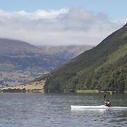 A kayaker on the water of Diamond Lake during the Paradise Triathlon and Duathlon series with breathtaking views of Mount Aspiring National Park, Paradise, Glenorchy, South Island, New Zealand. 18th February 2012. Photo Tim Clayton