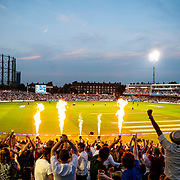 Flames fly up as Surrey fans celebrate Azhar Mahmood's six off the last ball to win the Natwest T20 Blast match between Surrey and Gloucestershire at the Kia Oval, London. July 1, 2015. <br /> <br /> Jack Megaw<br /> Picture by Jack Megaw/Focus Images Ltd +44 7481 764811<br /> 01/07/2015