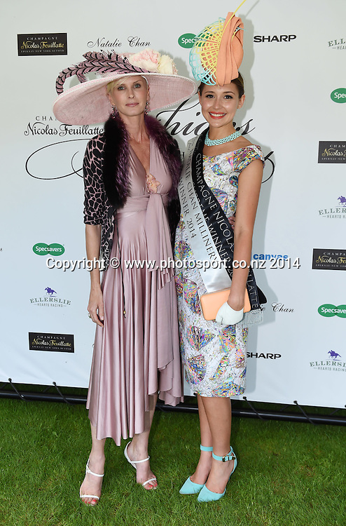 Winner Charlotte Moor with Model Kylie Bax (L). Fashion in the field at the Boxing Day Races at Ellerslie Racecourse in Auckland. New Zealand. Friday 26 December 2014. Photo: Andrew Cornaga/www.photosport.co.nz