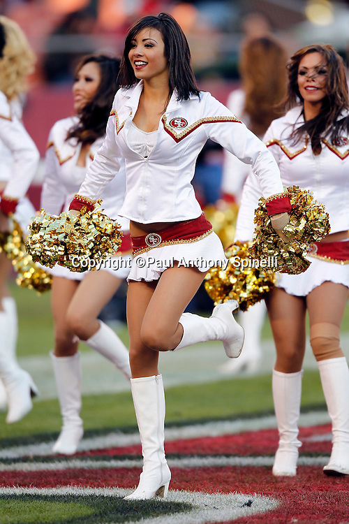 The San Francisco 49ers cheerleaders do a dance routine at the NFL week 11 football game against the Tampa Bay Buccaneers on Sunday, November 21, 2010 in San Francisco, California. The Bucs won the game 21-0. (©Paul Anthony Spinelli)